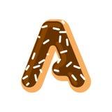 Letter A donut font. Doughnut alphabet. Sweet lettering. candy  Stock Image