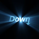 Word Down arrow sign light flare Stock Photos