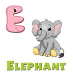 Letter E. Alphabet for children. Page with the letter E Royalty Free Stock Photo