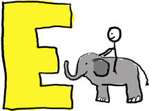 Letter E. A childlike drawing of the letter E, with a stick person and riding a small elephant Royalty Free Stock Photos