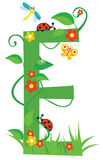 Letter E. Letter with flowers for design royalty free illustration