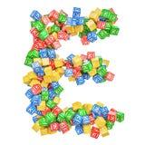 Letter E, from ABC Alphabet Wooden Blocks. 3D rendering vector illustration