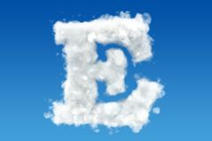 Letter E, alphabet from clouds in the sky. 3D rendering Stock Photo