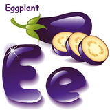 Letter E. Alphabet. English capital and uppercase letter E, stylized color of eggplant juice. eggplant with slices. vector illustration Royalty Free Stock Photos