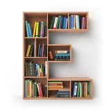 Letter E. Alphabet in the form of shelves with books isolated   Royalty Free Stock Photography