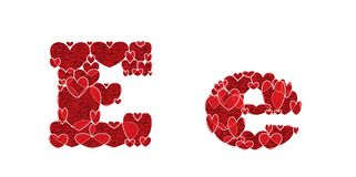 Letter E of alphabet made from hearts. Letter E, uppercase and lowercase of alphabet made from hearts Royalty Free Stock Photos