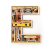 Letter E. Alphabet from the tools on the metal pegboard isolated Stock Images