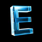 Letter E in blue glass 3D Stock Photo