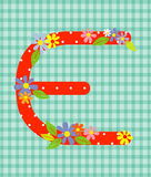 The letter E Bright floral element of colorful alphabet in  Stock Image