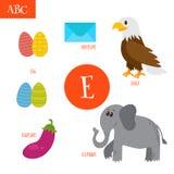 Letter E. Cartoon alphabet for children. Egg, eggplant, elephant. Letter E. Cartoon alphabet for children. Vector illustration Royalty Free Stock Image