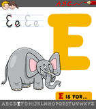 Letter e with cartoon elephant. Educational Cartoon Illustration of Letter E from Alphabet with Elephant Animal Character for Children Royalty Free Stock Photography