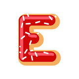 Letter E donut font. Doughnut alphabet. Sweet lettering. candy A Royalty Free Stock Image