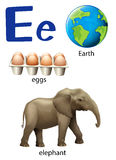 Letter E for Earth, eggs and elephant Stock Photos