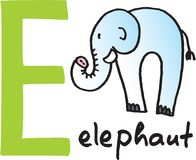 Letter E - elephant Royalty Free Stock Photos