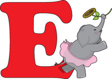 Letter E with an Elephant Stock Photo