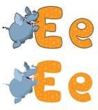 Letter E elephant. Illustration of a letter E elephant Royalty Free Stock Image