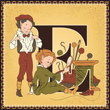 Letter E. The Elves and the Shoemaker Royalty Free Stock Images