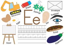 Letter E. English alphabet. Connect the dots. Educational game. For children stock illustration