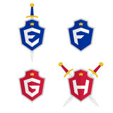 Letter E, F, G, H vector logo templates. Letter logo with shield and sword. Stock Images
