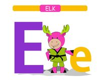 Letter E and funny cartoon elk. Animals alphabet a-z. Cute zoo alphabet in vector for kids learning English vocabulary. Printable. Sheet. Vector vector illustration