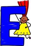 Letter E girl. Happy little ethnic girl holding a giant letter E - toddler art series Stock Images