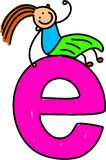 Letter E girl. Happy little girl sitting on giant letter E - lowercase version Royalty Free Stock Photography