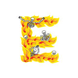Letter E hellish flames and sinners font. Fiery lettering. Infer. Nal fire alphabet sign. ABC devilish flame of Death Satanic and skeleton Stock Images