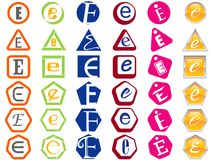 Letter E Icons Badges and Tags Royalty Free Stock Photo