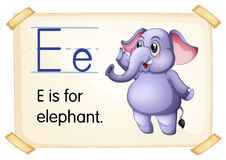 Letter E. Illustration of a flashcard with letter E stock illustration