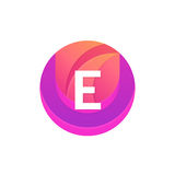 Letter E logo abstract circle shape element. Vector round compan Stock Image