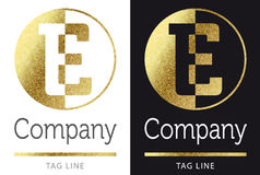 Letter E logo. Golden bright letter E logo royalty free illustration