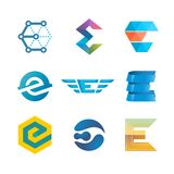 Letter E logo set. Color icon templates design. Royalty Free Stock Images