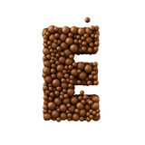 Letter E made of chocolate bubbles, milk chocolate concept, 3d render.  stock illustration