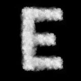 Letter E made of the clouds. Letter made of the natural clouds isolated on black background stock illustration