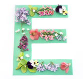 Letter E Made of Spring Flowers and Paper. On White Background stock image