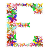 The letter E made up of lots of butterflies of different colors Stock Photography