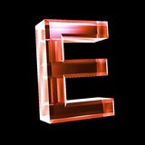 Letter E in red glass 3D Stock Photography