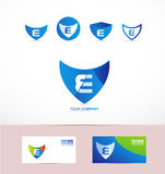 Letter E shield antivirus logo Stock Photo