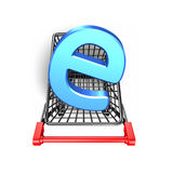 Letter e in the shopping cart, 3D rendering Stock Photos