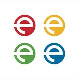 Letter e solid circle logo vector template stock illustration
