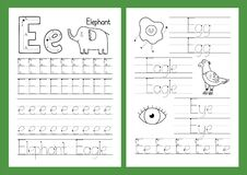 Free Letter E. Tracing Practice Worksheet Set. Learning Alphabet Activity Page Stock Images - 208037984