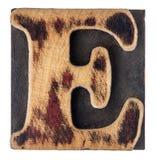 Letter E wood type block Stock Image