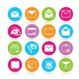 Letter and email icons. Set of 16 letter and email icons in colorful buttons stock illustration