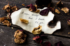 Letter with emotions on a dark background with dry roses. Stock Photos