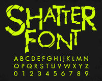 Letter en getal met het ontwerp van de verbrijzelendoopvont vector illustratie