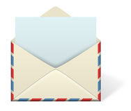 Letter Envelope. An illustration of an envelope open with an emerging piece of paper or letter coming out from inside the envelope. Add your own text or message Royalty Free Stock Images