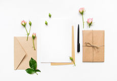 Free Letter, Envelope And Gift On White Background. Invitation Cards, Or Love Letter With Pink Roses. Holiday Concept, Top View, Flat L Stock Photography - 83765422