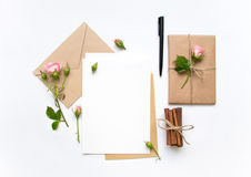 Free Letter, Envelope And Gift On White Background. Invitation Cards, Or Love Letter With Pink Roses. Holiday Concept, Top View, Flat L Royalty Free Stock Photography - 85970247