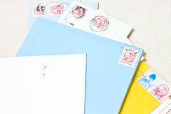 Letter envelope. Old envelope and Stamps is not used royalty free stock photo