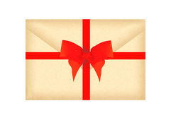 Letter envelope with red ribbon and bow isolated on white Stock Photography